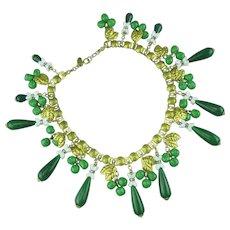 Miriam Haskell jade glass Bib Necklace.
