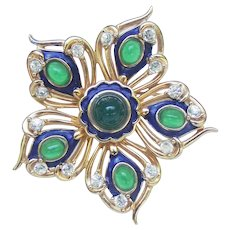 Marcel Boucher peacock eye, blue enamelled and emerald cabachon star brooch