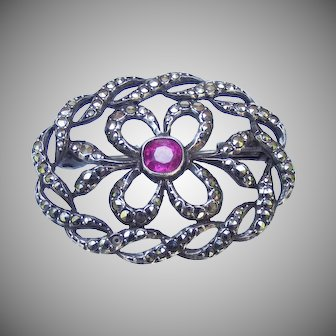 Vintage 1920's French Belle Epoque style silver and marcesite brooch