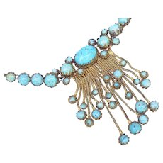Christian Dior 1950's turquoise matrix necklace designed by Mitchel Maer.
