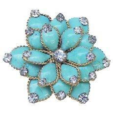 Early Chanel turquoise Gripoix glass floral brooch.