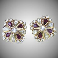 Christian Dior Ruby and Clear Rhinestone Earrings.