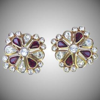 Christian Dior Ruby and Clear Rhinestone Earrings.