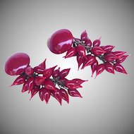 Louis Rousselet, Made in France, rich red Coral poured glass earrings.