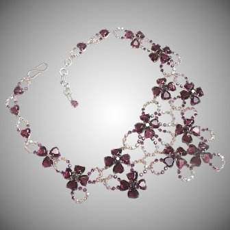 Henkell & Grosse for Christian Dior, 1957,  amethyst glass stone heart necklace.