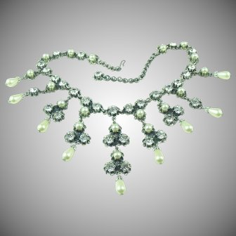 Vintage 1950's French Bib Necklace with clear paste stones and glass pearls