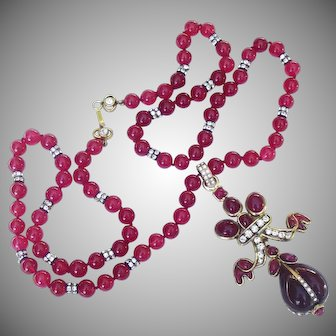 Chanel Ruby Gripoix Glass Sautoir Necklace