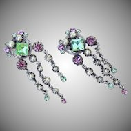 Unsigned vintage 1930's pink & green rhinestone waterfall earrings.