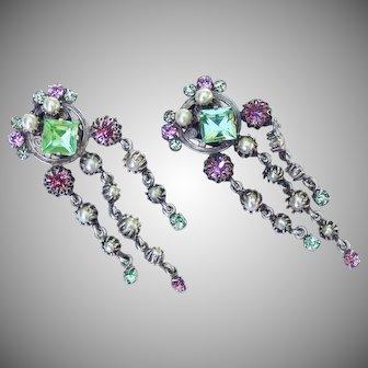 Unsigned vintage 1930's pink & green rhinestone waterfall earrings.