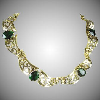 1940's Marcel Boucher, Parisina, Silver Vermeil scrolling and pieced necklace.