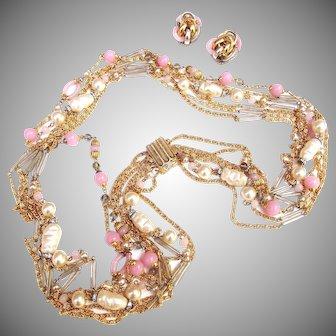 Chanel, Archimede Seguso, Pink & Grey Sautoir Necklace & Earrings
