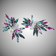 Vintage 1960's earrings 'Dior' look with  Ruby , emerald  and  sapphire rhinestones by B.E.Cook, London.