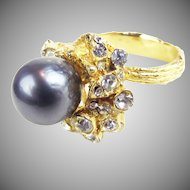 Christian Dior Ring by Henkell & Grosse with glass Tahitian Pearl
