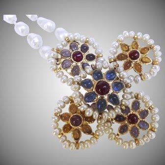 Chanel Gripoix Baroque Glass Pearl Byzantine Cross Necklace