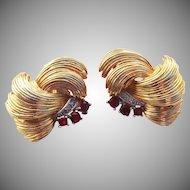 Marcel Boucher Ruby Rhinestone feather Earrings