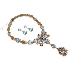 Vintage 1960's collar necklace & earring set by Panetta set with Aquamarine Rhinestones