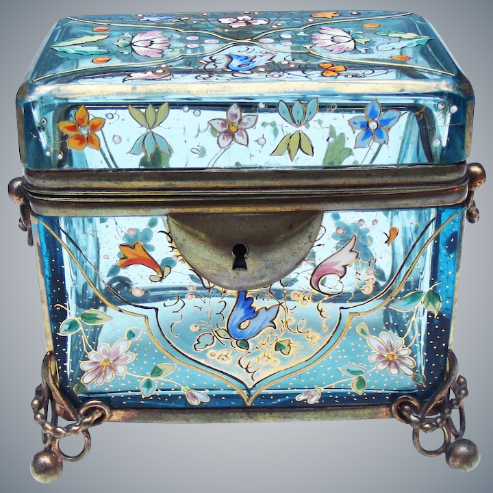 late 19th  century Moser Enamelled Jewel casket