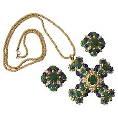 Christian Dior Emerald & Sapphire Poured Glass Cabochon Pendant Cross & Earrings