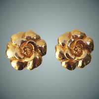 Chanel Gold tone Camelia Earrings
