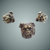 Joseff of Hollywood British Bulldog Brooch & Earrings Set.