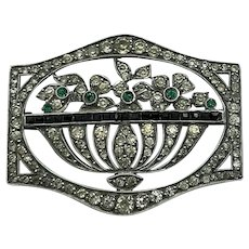 French, Art Deco, silver and paste Basket Brooch