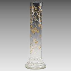 Antique Victorian Bohemian hand blown clear glass Vase hand painted enamel