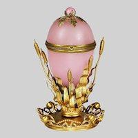 Antique French pink opaline egg hinged Box in gilt bronze mounts Palais Royal souvenir