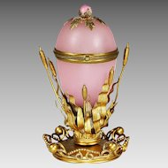 Antique French pink opaline egg hinged Box in gilt bronze mounts Palais Royal souvenir