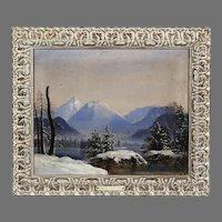 Antique oil canvas painting Winter Landscape Dutch Canadian Cornelius Krieghoff