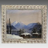 Antique oil canvas painting Winter Landscape Dutch Canadian Cornelius Krieghoff