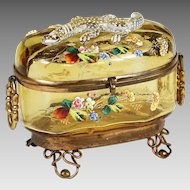 Antique Moser Bohemian amber art glass Casket hinged box enamelled w/ applied lizard