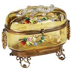 Antique Moser Bohemian amber art glass Casket hinged box enamelled w/ applied lizard