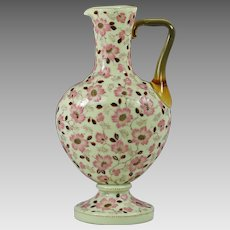 "12""H Antique Bohemian Lobmeyr opaline glass Ewer Pitcher enamel jewels"