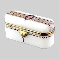 Antique French white opaline glass Trinket Box or casket