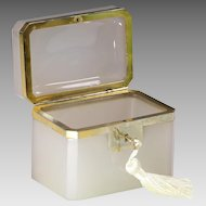 Antique French neutral pink opaline glass jewelry Casket box gilded bronze