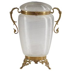 """8"""" tall Antique clear glass trinket Box hinged lid bronze dore mounts old"""