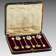 Set 6 Sterling Silver tea bean coffee spoons in box by H & H Goldsm Birmingham