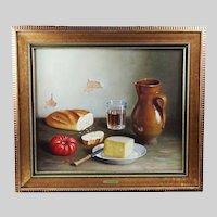Oil on canvas Still Life painting by Spanish artist Garcia Belloso mid 20th century