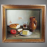 Oil on canvas Still Life painting by Spanish artist Garcia Belloso mid 20th century