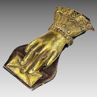 Antique Victorian desk top brass Hand Paperclip mail holder