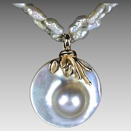 10k yellow gold & Mother of Pearl shell Conchoidal large Pendant