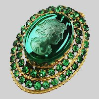 Antique hinged clip on Brooch green glass cut Maiden and glass jewels