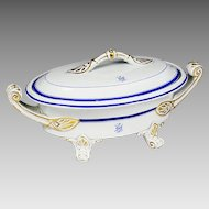 Antique 1867 English white w/ blue porcelain serving soup Tureen