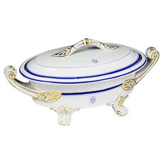 Antique 1867 English white w/ blue porcelain serving soup Tureen