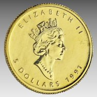 Canada 1991 $5 dollars fine gold coin 1/10 oz or pure