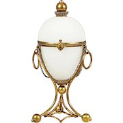 "10"" Antique French white opaline gilt ormolu hinged Egg Box Palais Royal"
