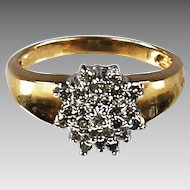 Fine 10K Gold and Diamond cluster Cocktail ring .25 diamond TW size 6