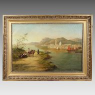Antique oil canvas painting by Dutch artist Willian Raymond Dommersen 1850-1927