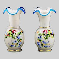 Pair of Antique Vases early 1800 French white opaline enamelled