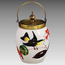 19th c Antique English Victorian Opaline & Enameled Glass Jam Jar w Brass Mounts
